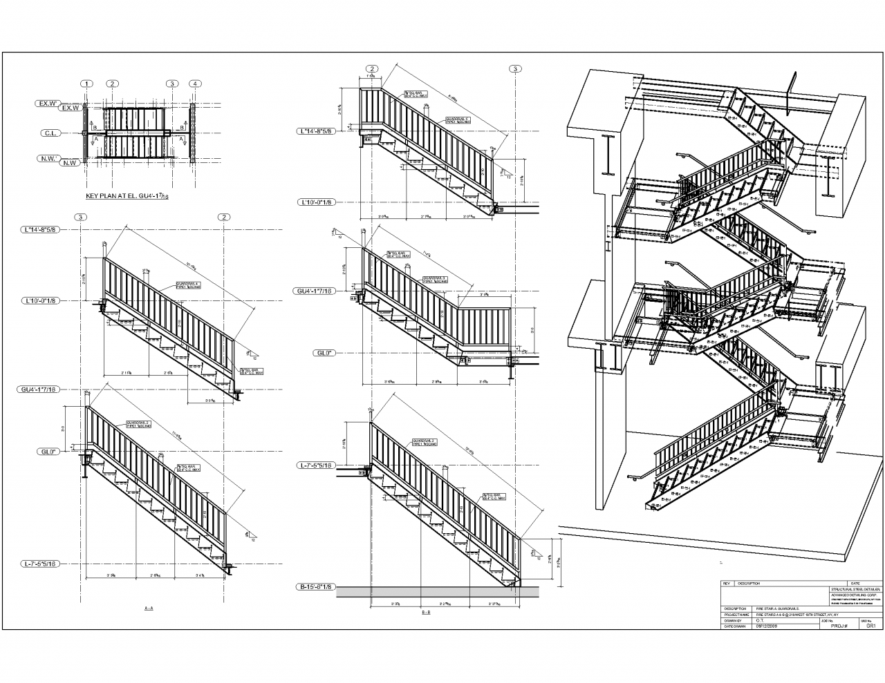3d Staircase Drawing Isometric View And Elevations