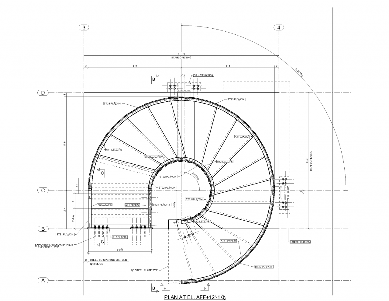 Advanced detailing corp steel stairs shop drawings for Curved staircase floor plans