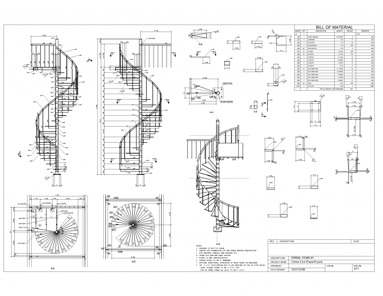 Advanced detailing corp steel stairs shop drawings Spiral stair details