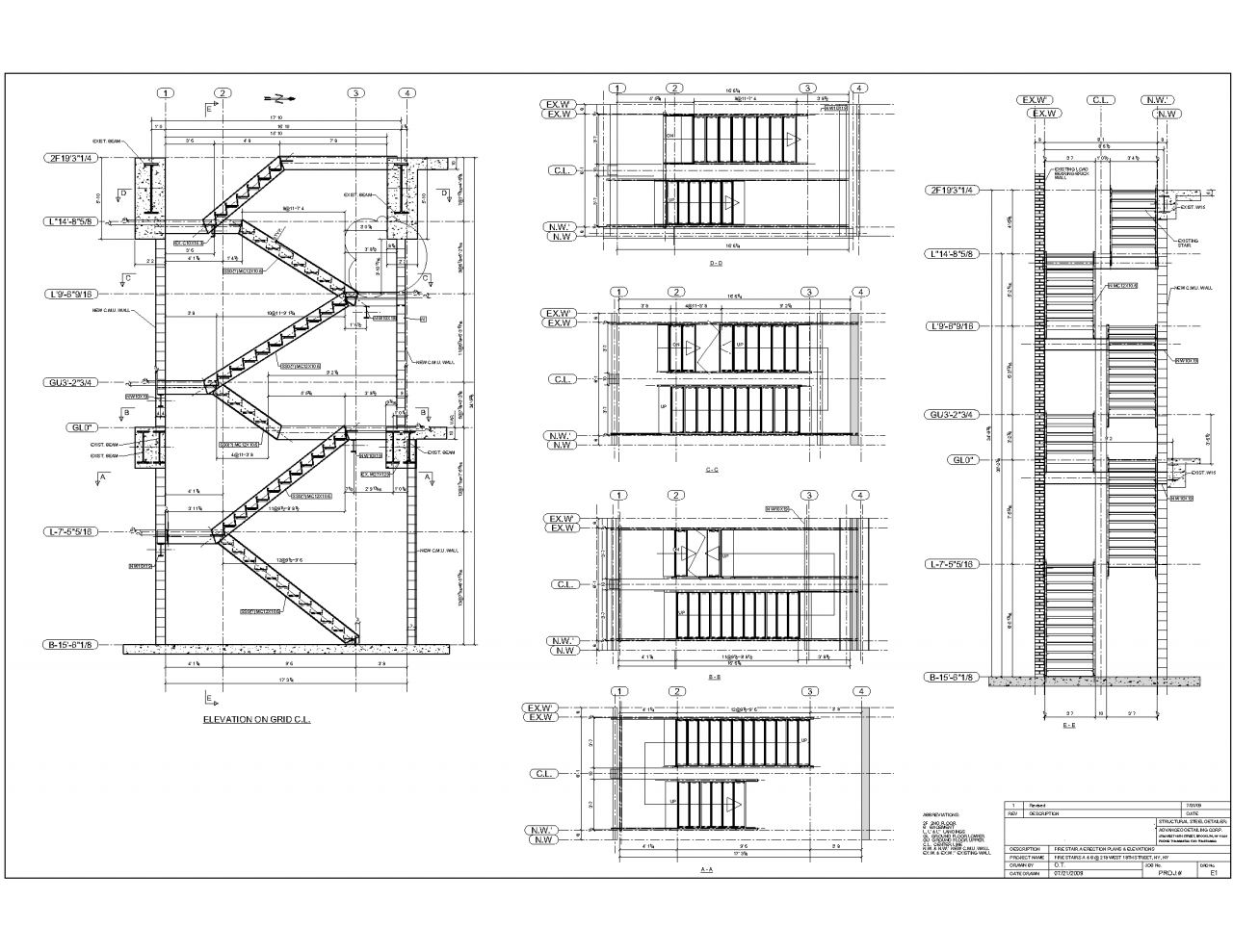 Advanced detailing corp steel stairs shop drawings for New building design plan